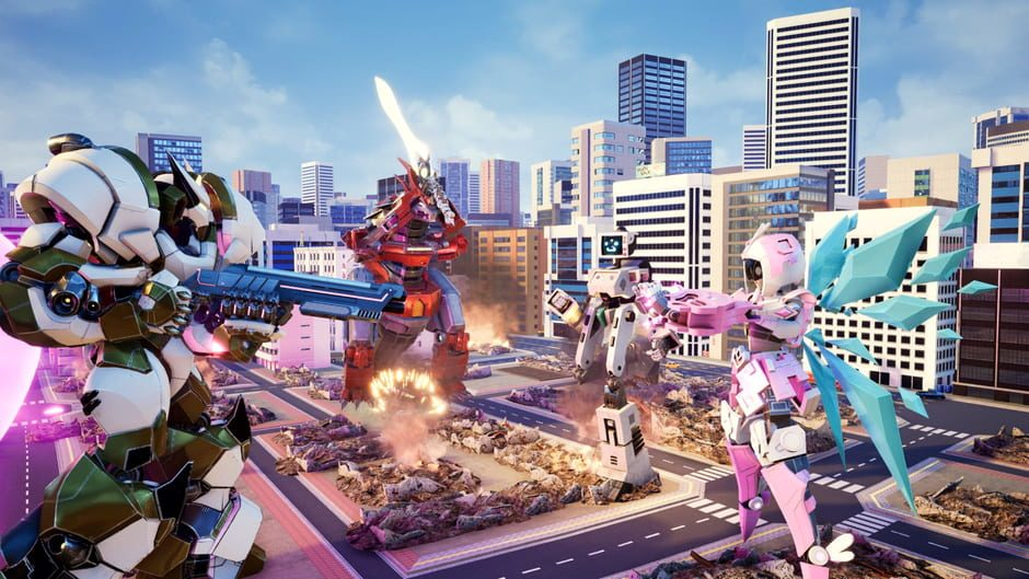 Override: Mech City Brawl mechs in the city