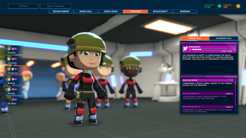 Upgrade abilities of the crew